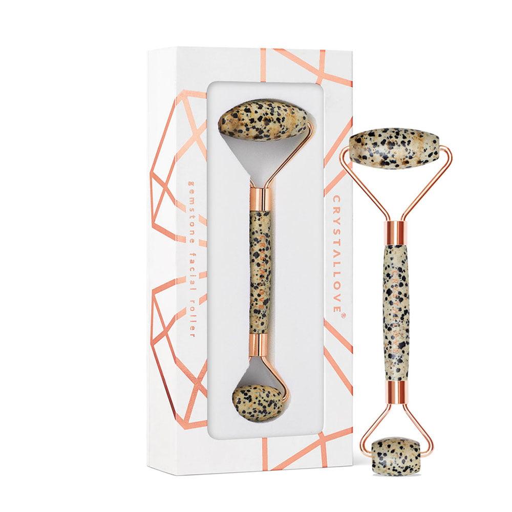 crystallove masazer do twarzy z jaspisu dalmatynskiego - roller z jaspisu