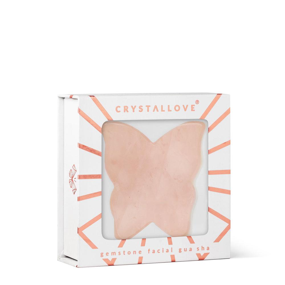crystallove plytka motylek do masazu twarzy gua sha z kwarcu rozowego