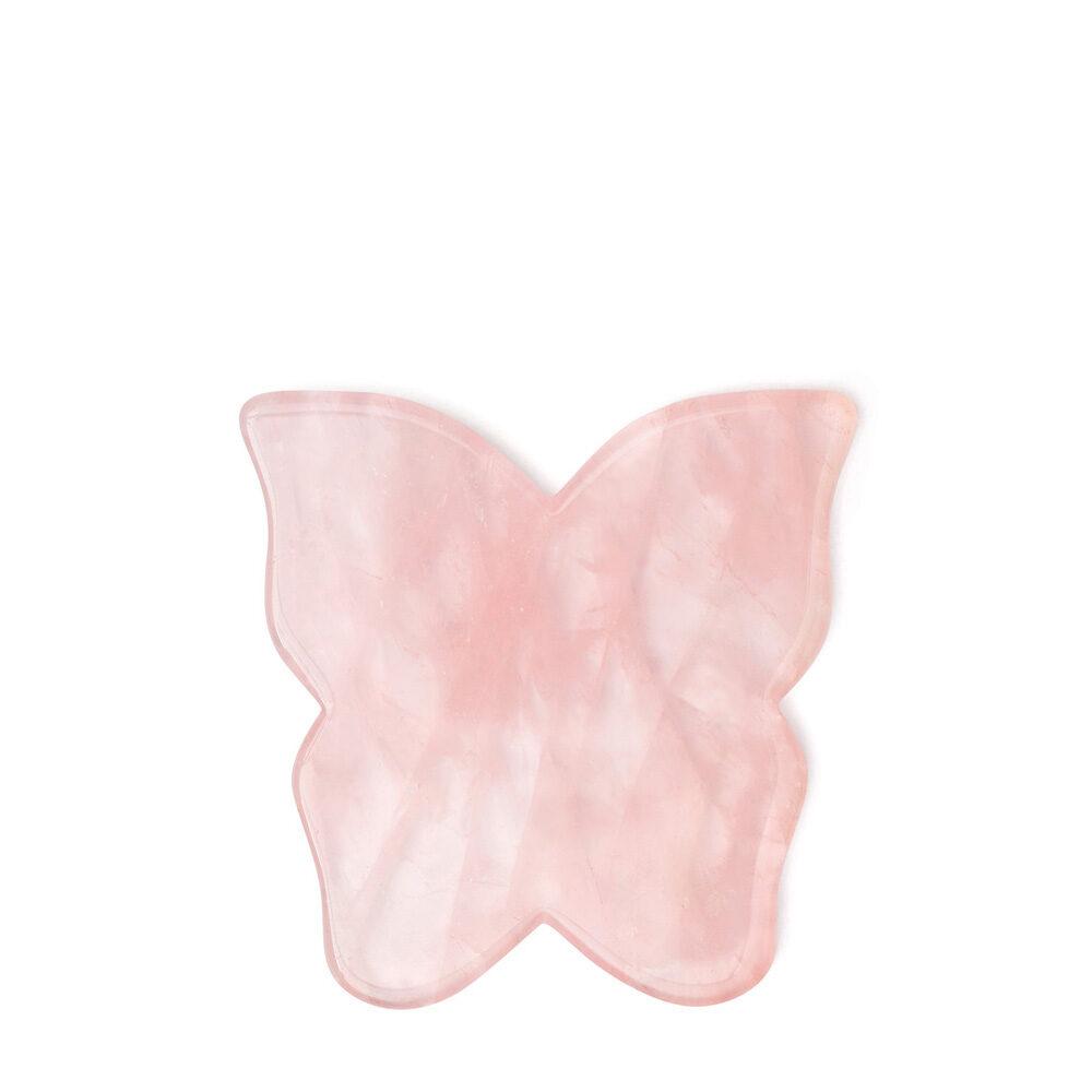 crystallove plytka motylek do masazu twarzy guasha z kwarcu rozowego