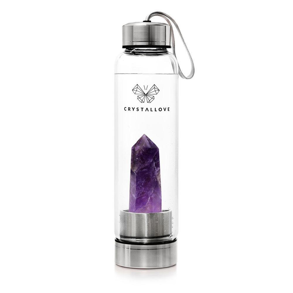crystallove szklana butelka na wode z krysztalem ametystem