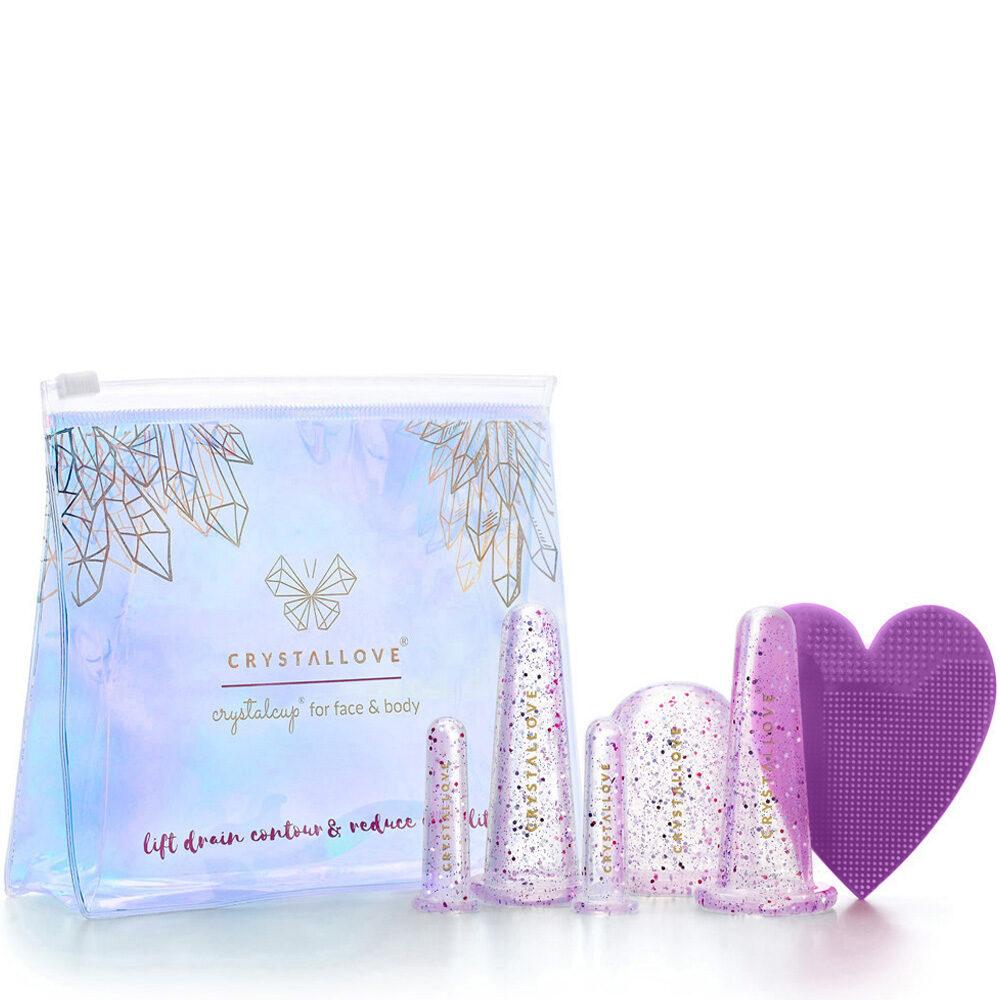 crystallove banki do masazu twarzy i ciala - banki liliowe z brokatem