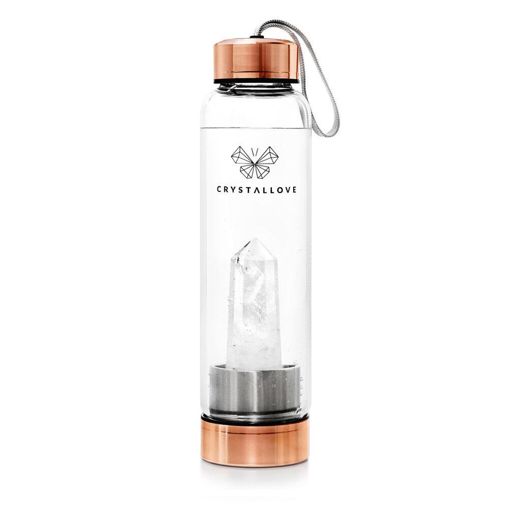 crystallove szklana butelka na wode z krysztalem zlota