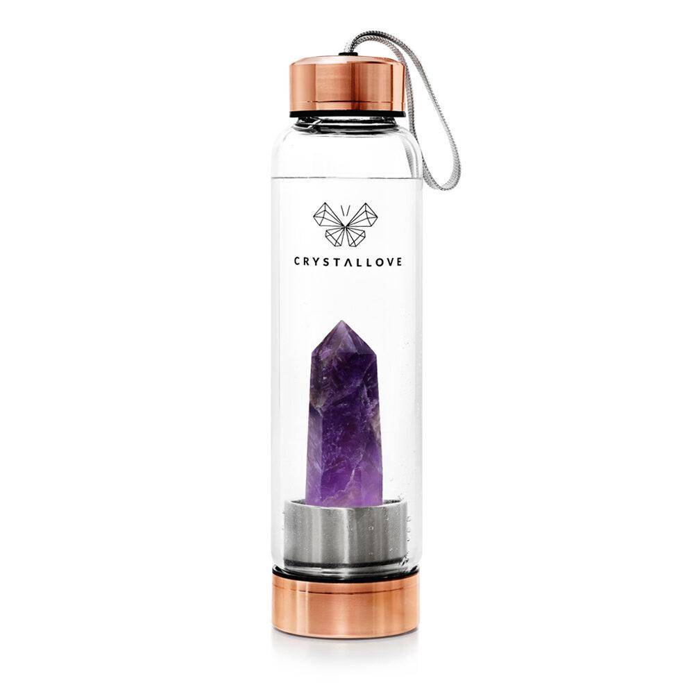 crystallove szklana butelka na wodę z ametystem