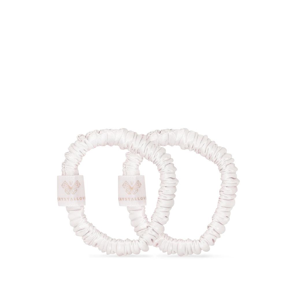 crystallove clear quartz home SPA set - gumka do włosow mini z jedwabiu - biala