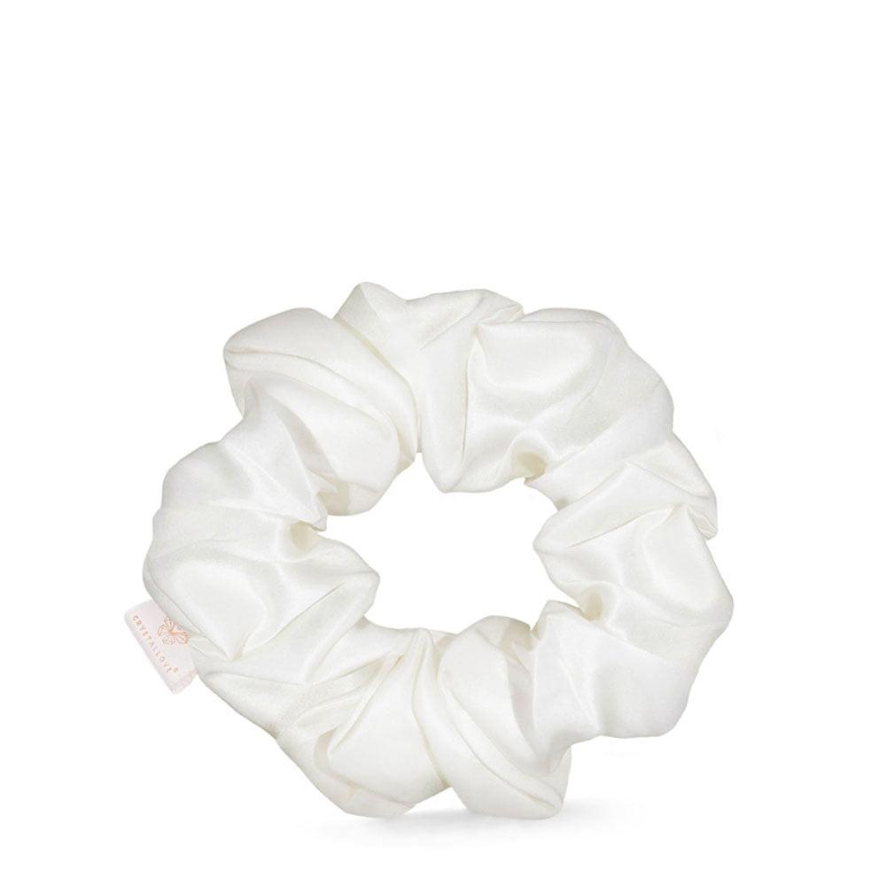 crystallove gumka do wlosow z jedwabiu ivory - scrunchie