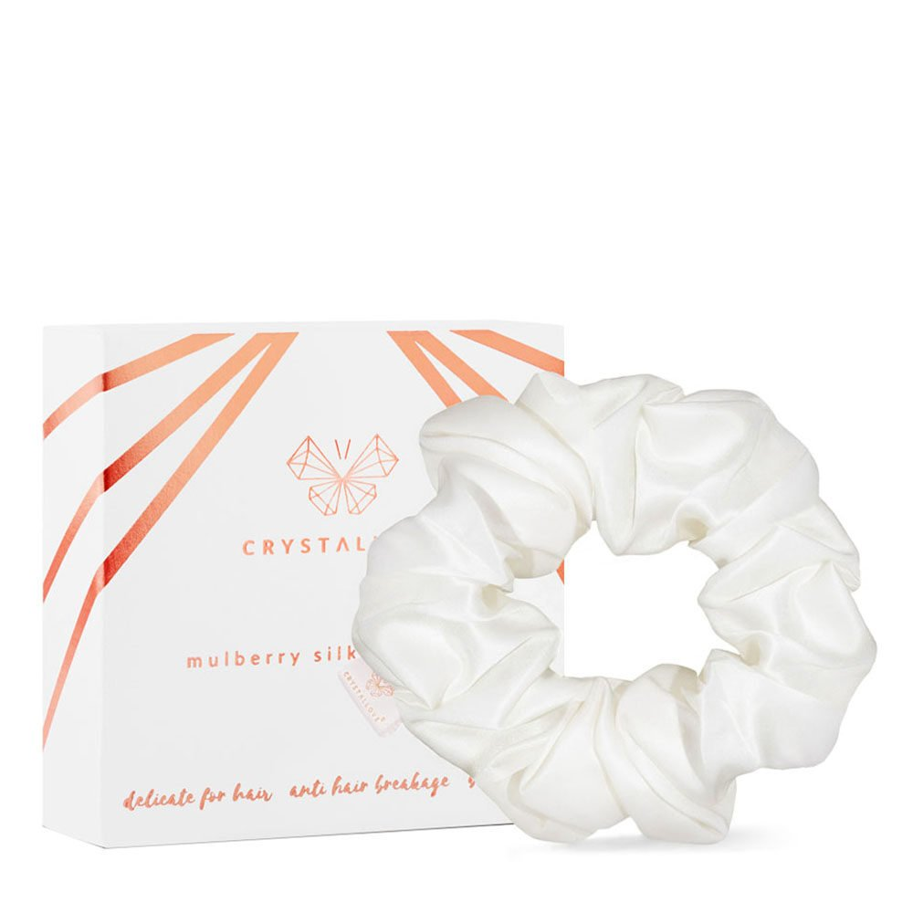 crystallove gumka do wlosow z jedwabiu ivory - silk scrunchie